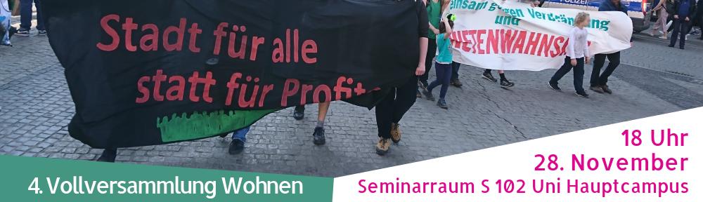 Vollversammlung Wohnen am 28. November in der Uni Leipzig